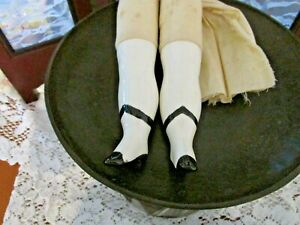 Ceramic Doll Legs, white w/black design, Stuffed material, Legs NICE