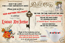 ALICE IN WONDERLAND 18TH 21ST 30TH  (ANY AGE) POST CARD BIRTHDAY INVITATION 4X6