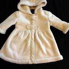 Calvin Klein Girl's sz 12m Winter White Faux Suede Coat Jacket Hood Washable