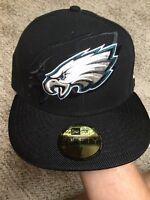 PHILADELPHIA EAGLES New Era 59Fifty NFL On Field Black Fitted HAT/CAP Size 7