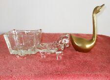 VINTAGE 1950'S DEPRESSION GLASS DONKEY & CART~ BRASS SWAN GOOSE FIGURINE STATUE
