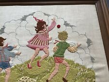 Vintage Crewel Embroidery Handmade Yarn Art Children Playing Needlework Framed