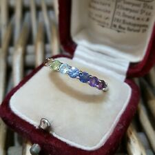 MULTI GEMSTONE STERLING SILVER RING, RAINBOW RING, HALF ETERNITY, SIZE P1/2 US 8