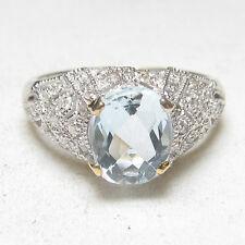 Estate 14K White And Yellow Gold 1.25 Ct Natural Blue Aquamarine Diamond Ring