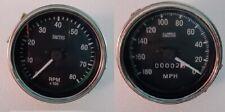 "Classic Smiths 85 mm mechanical Tachometer replica 3 3/8"" + Speedometer Black"