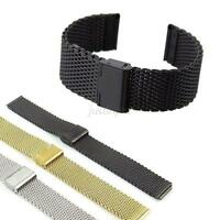 Stainless Steel Watch Mesh Strap Double Fold Over Clasp Buckle 18/20/22/24mm J88