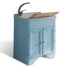 Mobile lavatoio in legno decapè azzurro 60x50 per lavanderia shabby con pilozza