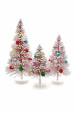 "Cody Foster Pink Multi Balls Snow Forest 8.5-13.25"" H Christmas Tree Set of 3"
