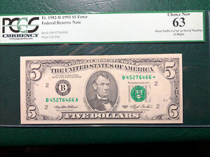 1993 $5.00 FRN *ROLLED SUFFIX* P.C.G.S #63