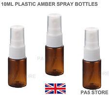 3x 10ml Amber Spray Atomizer Bottles Plastic - Empty - Perfume Fragrance PET UK