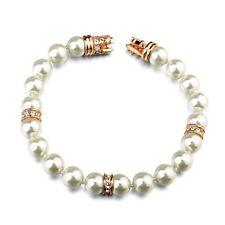18k Rose Gold Filled Bridal White Pearl Bracelet Made With Swarovski Crystal T21