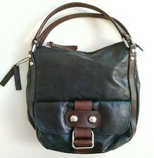Anthropologie TANO Leather Purse Black Brown Chrome Hardware Medium Hobo Bag