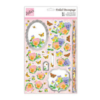 ANITAS FOILED DECOUPAGE PRETTY PANSIES TOPPERS FOR CARDS & CRAFTS