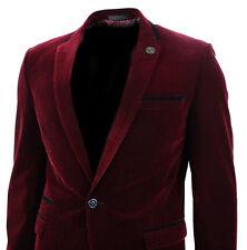 Mens Velvet Wine Maroon Burgandy Blazer Jacket Slim Fit Smart Casual Black Trim