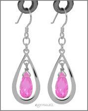 925 Silver Pear Drop Dangle Earring w/ CZ Pink #65269