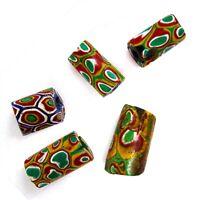 Five Antique African Trade Beads Venetian Millefiori Glass Green Eyes