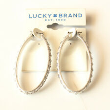 New 5cm Lucky Brand Oval Hoop Earrings Gift Vintage Women Party Holiday Jewelry