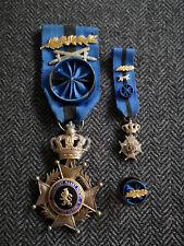 BELGIQUE ORDRE DE LEOPOLD II OFFICIER PALME D'OR MINIATURE WW1 ROSETTE MÉDAILLE
