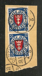 Danzig - 1924 Definitives 50 pf value - Vertical Pair - Used on Piece