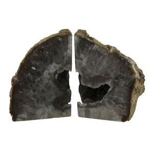 Zeckos Large Natural Banded Brazilian Agate Drusy Geode Bookends 7-11 Pounds
