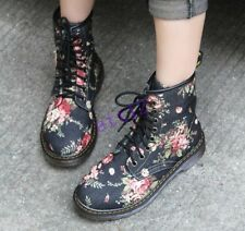 Retro Womens Mid-Calf Boots Flowers Martin Lace Shoes Combat Floral Shoes