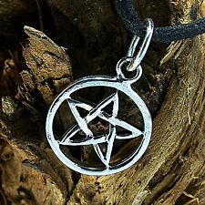 925 Sterling Silber, Mini Pentagramm, Ketten-Anhänger, Metal-, Gothic-,Drudenfuß