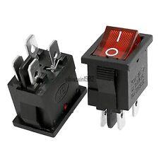 NEW 2pcs Red light DPST ON/OFF KCD1-104N 4pin Rocker Switch 6A/250V 10A/125V