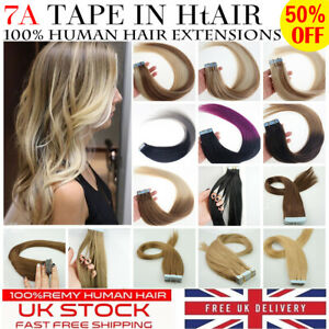 """8A* Quality 14''-24"""" Tape In  Premium Russian Remy Human Hair Extensions 1st"""