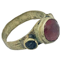 Authentic Post Medieval Antique Ring Artifact - Red Stone - Old European Jewelry