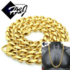 "30""MEN Stainless Steel  HEAVY WIDE 13x5mm Gold Cuban Curb Chain Necklace*GN136"