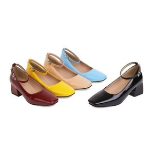 Lady Ankle Strap Shoes Synthetic Leather Mid Heels Square Toe Pumps AU Size S267
