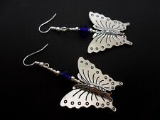 A PAIR OF BIG DANGLY BLUE CRYSTAL BEAD BUTTERFLY EARRINGS. NEW.