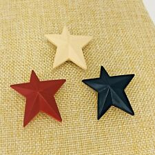 Vintage Red Off White Blue Star Button Covers Fourth of July