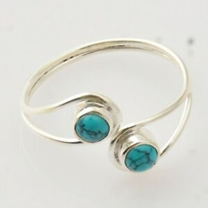 Anniversary Gift For Her Turquoise Gemstone Ring Size 7 Silver Jewelry SRL018315