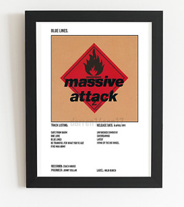 Massive Attack Poster Blue Lines Album Art Polaroid Style Indie Poster A4,A3