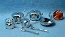 Dollhouse Miniature Kitchen Cookware Set Pots, Pans, Tea Pot & More H1927