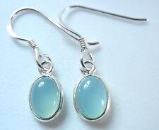 Small Chalcedony Light Blue Oval 925 Sterling Silver Dangle Earrings New