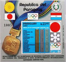 PARAGUAY 1972 Block 192 S/S C346 Winter Olympics Sapporo Medal totals result MNH