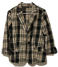 Maximo Womens Jacket Size 8 Brown Black Plaid