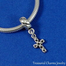 .925 Sterling Silver RELIGIOUS CROSS Dangle Bead CHARM fits EUROPEAN Bracelet