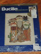 "BUCILLA WILDLY WESTERN CROSS STITCH KIT #42663 7x8"" Cowboys Horse Cactus"