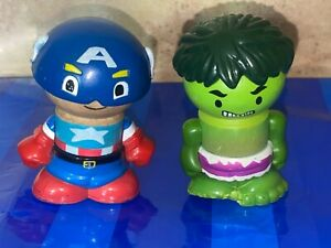 Play Town Learning Curve Marvel HULK Captain America Wooden figures Lot