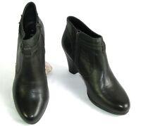 PIURE LEATHER - Bottines low boots talons tout cuir kaki foncé 41 EXCELLENT ETAT