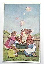 A/S Margaret Tempest Dressed RABBITS Bunnies Bubbles Medici Society Postcard