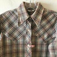 Vintage Levi's Women's Western Shirt Plaid Button Front L/S Size 13 - 14