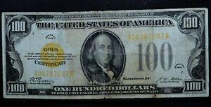 1928 $100 GOLD CERTIFICATE ✪ VG VERY GOOD ✪ NET APPARENT L@@K NOW ◢TRUSTED◣