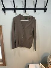Eddie Bauer Cotton Cashmere Brown Cardigan Women's L