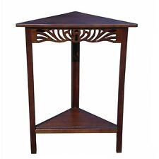 Traditional Solid Wood Small Corner Accent End Table Shelf Hand Carved Brown