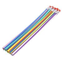 5PCS Colorful Stripe Bendy Bendable Flexible Pen Pencils For Children WS