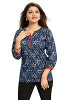 Women Indian Short Kurti Cotton Blue Printed Tunic Kurta Shirt Dress NK11